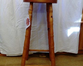 Vintage Refurbished Solid Pine Bar Kitchen Stool