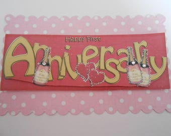 Pack 2 Happy 1st Wedding Anniversary Embellishment Topper for cards and crafts