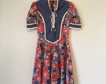Vintage patchwork and polkadot corset-style front dress