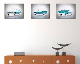 Set of 3 - 1955 Oldsmobile wall prints, vintage car decor, car room decor, Oldsmobile decor, car poster, man cave decor, car prints