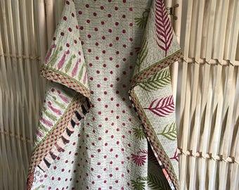 Vintage Kantha Throw, Mini Kantha, Handmade Kantha Quilt, Baby Blanket
