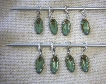 Handmade Pottery Green Leaf Stitch Markers