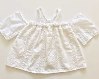 baby girl toddler white textured off the shoulder swing top tank