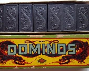 Vintage Halsam Dragon Dominos Set No. 620