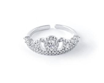 Silver Slim Crystal Pave Crown Ring