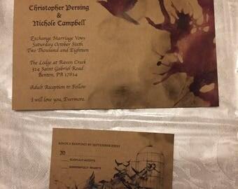 Edgar Allan Poe The Raven Wedding Invitations 100qty.