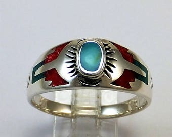 Sterling Silver Turquoise Coral Western Ring Men sizes 9.75 - 14 Free shipping .925