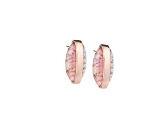 Capsule Pink gold and White Stud Earrings