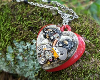 Steampunk Inspired Red Heart Pendant and Chain