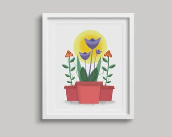 Plants / Vintage / Mid Century Modern / Digital Print / 16x20 / 8x10 / Wall Art / Home Decor / Floral / Instant Download / Spring Plants