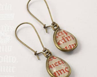 "Earrings ""Lacrima"" - glass tear and manuscript"