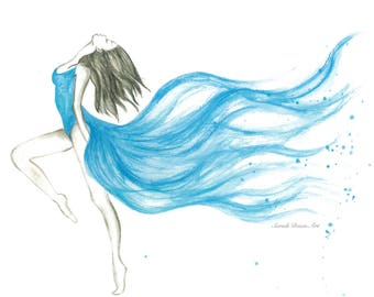 Blue Dancing Girl Print - home decor, baby room or gift and custom available