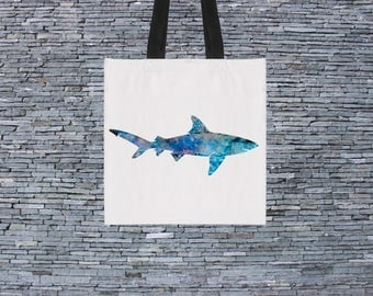 Printed Bag - Art Tote Bag - Art Market Bag - Fashion Tote - Blue Shark Bag