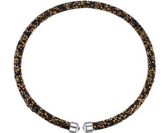 Austrian crystal necklace black gold