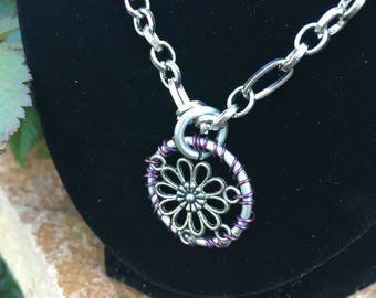 Handmade chainmail flower pendant necklace