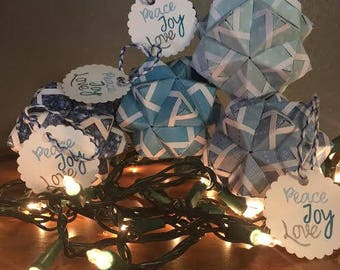 Blue Origami Christmas Ornaments