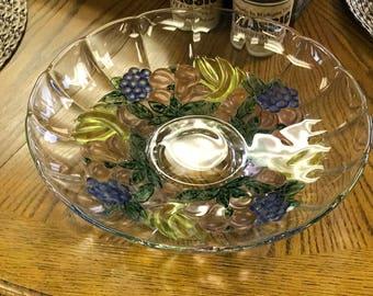 Vintage Glass Footed Fruit Serving Bowl