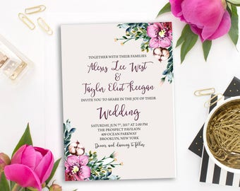 Wedding Invitation Suite Printable Floral Digital Wedding Pink Orchid Watercolor Invitation Wedding Invite WS-001