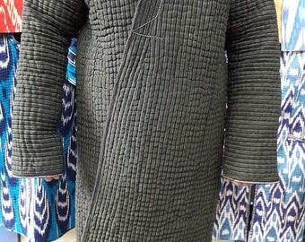 SALE!!! A Chapan Robe (the Traditional Uzbek Ikat Robe). A Handwoven Ikat Adras Chapan from Uzbekistan.