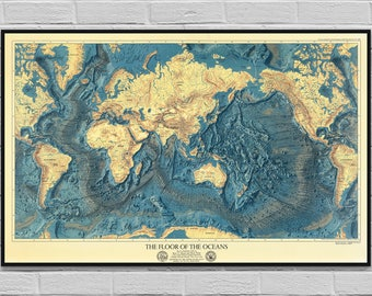 Ocean map etsy map ocean floors lands relief old map poster vintage cartography digital map gumiabroncs Images