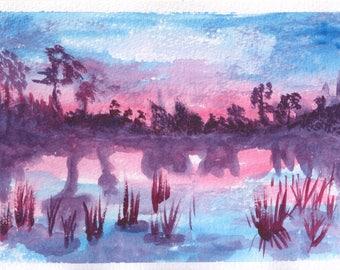 Evening Lake (original watercolor print)