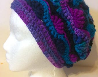 Multi-Colored Bullion Crocheted Slouchy Hat