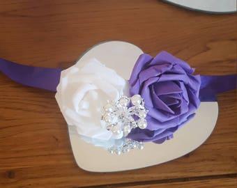 Satin ribbon foam rose wrist corsage