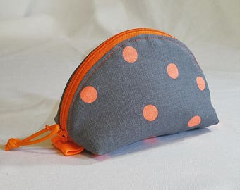 Tiny curved purse - orange dots on grey