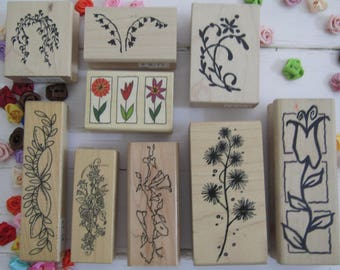 rubber stamps, vintage rubber stamps, set of stamps