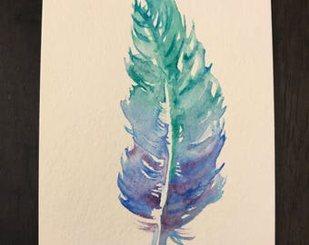 Hand-painted Feather Postcard
