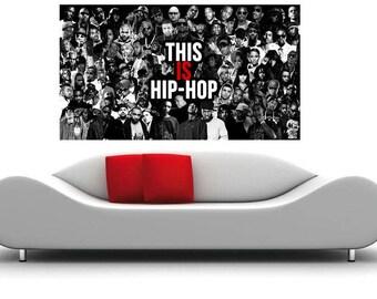 Rap Music Hip Hop Legends Old School School Rap Collage Canvas Print 36 x 20