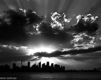 Sydney Skyline Silhouette Photo Print, Black & White Photography, Sunset Photography, Silhouette Photography