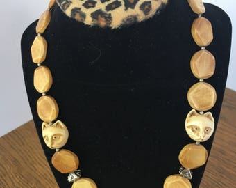 Faceted Wood Beaded Necklace with Carved Bone Cat Face Beads (2)