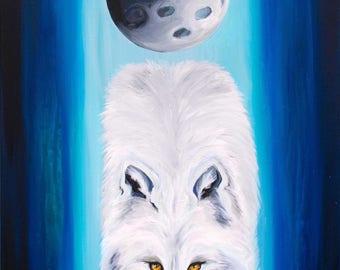 White Wolf Spirit Animal Print