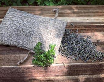 Organic French Lavender Pouch - Dried lavender flowers in a drawstring burlap bag • medicinal herbs • vegan • organic