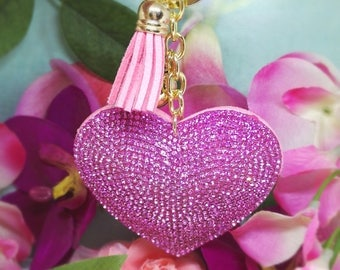 Key chain, Strass heart handbag charm