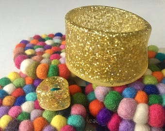 Resin Bangle and Ring Jewellery Set - Gold Glitter