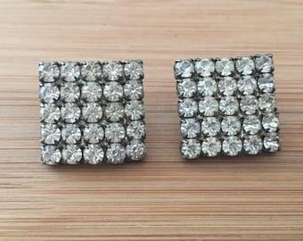 Vintage square rhinestone earrings