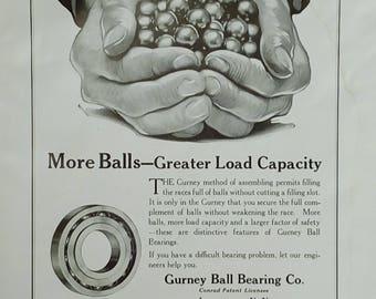 "1920 Ad for Gurney Ball Bearing Company - ""More Balls - Greater Load Capacity"""