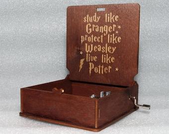 "Harry Potter - Study Like Granger Protect Like Weasley Live - Engraved Wooden Music Box - ""Harry's Wondrous World"" - Hand Crank Movement"