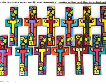 Beautiful flowery decorative MDF wooden crosses