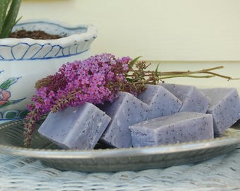 Stress Reliving Exfoliating Lavender Poppy seed Soap