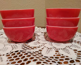 Vintage Pyrex Small Red Square Bowls set of 6