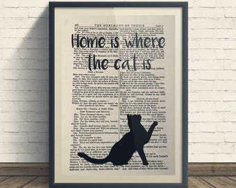 Home Is Where The Cat Is - A4 Art Print On Old Book Page, Home, Funny, Cat Print