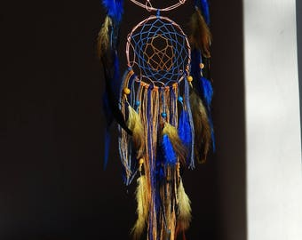 Copper Wire Bohemian Dream Catcher Feathers Blue Yellow