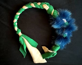 Braided dog toy, fur dyed recycled