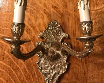 Vintage Brass Wall Sconce Rewired and Restored