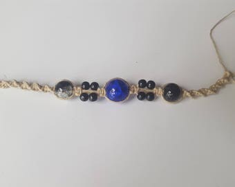 Black and blue Hemp Bracelet