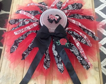Tutu bow set paisley bandana red and black tulle