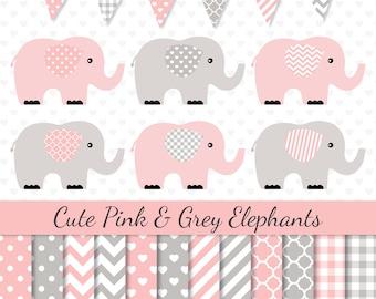 Elephants Clipart Pink Grey Elephants Clip Art Pink Digital Paper Baby Shower Clipart Nursery Art
